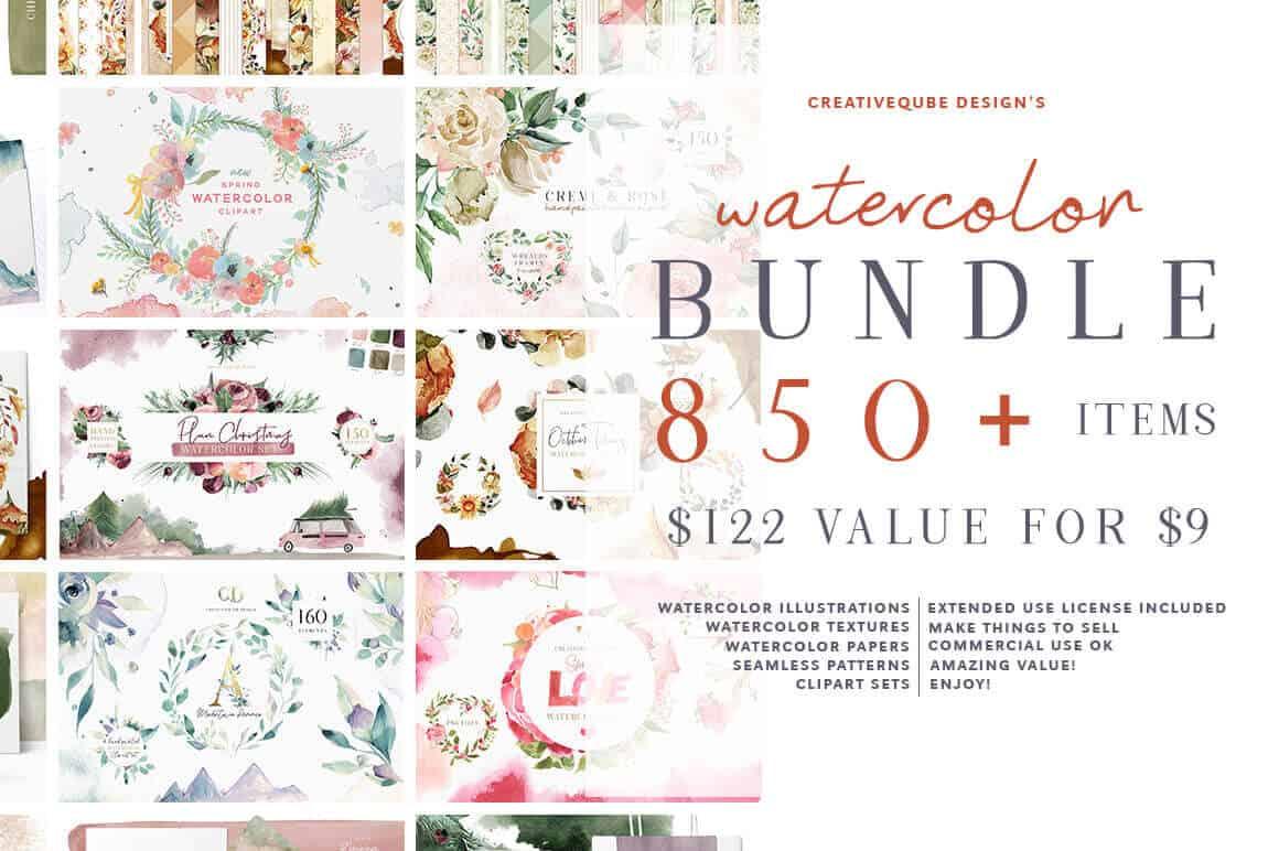 850 Watercolor bundle sample